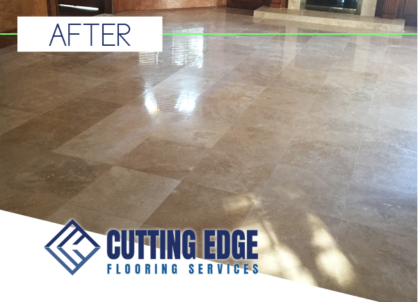 Houston Travertine Polishing Before