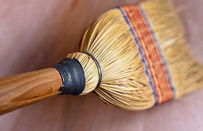 Whisk Broom Tile Cleaning