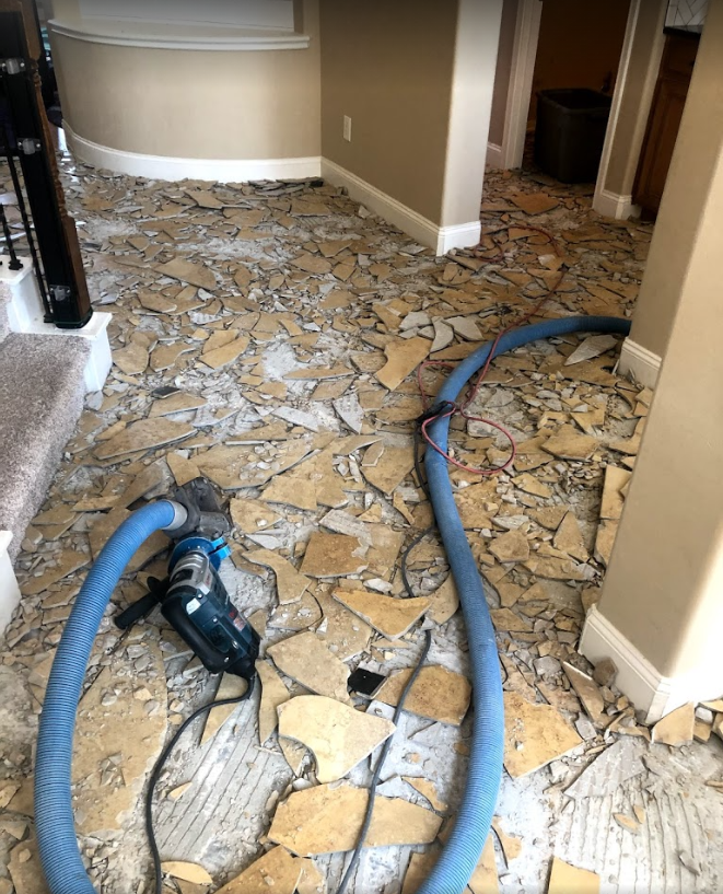 ceramic tiles removed from floor